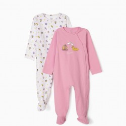 2 SLEEPSUITS FOR BABY GIRLS, 'PLAYTIME', PINK/WHITE