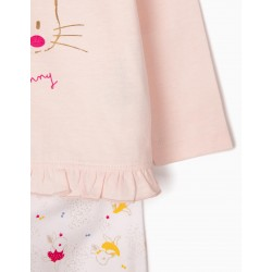 2 LONG SLEEVE PAJAMAS FOR BABY GIRL 'LITTLE BUNNY', PINK / WHITE