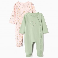 2 BABYGROWS FOR NEWBORN 'CUTE BUNNY', PINK AND GREEN