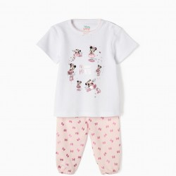 PAJAMAS FOR BABY GIRL 'MINNIE BALLERINA', WHITE AND PINK