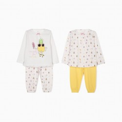 4-PIECE PAJAMA FOR BABY GIRL 'SUMMER', PINK / WHITE