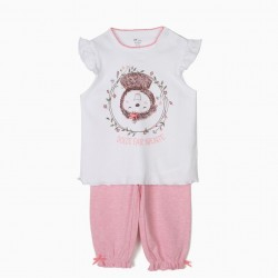 DOLCE FAR NIENTE SLOTH BABY GIRL PAJAMAS, WHITE AND PINK