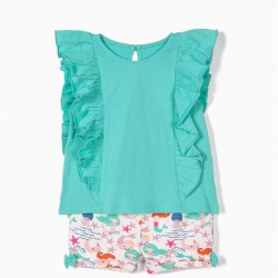 T-SHIRT AND SHORTS FOR BABY GIRL 'MERMAIDS', GREEN AND WHITE
