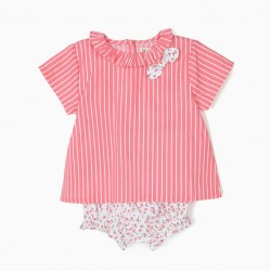 STRIPED AND FLORAL BABY GIRL'S BLOUSE AND DIAPER COVER, WHITE AND PINK