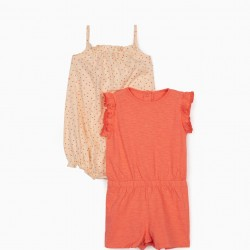 2 JUMPSUITS FOR BABY GIRLS, 'DOTS', PINK