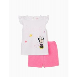 MINNIE MOUSE BABY GIRL T-SHIRT AND SHORTS, WHITE / PINK