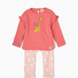 BABY GIRL'S TRACKSUIT 'GIRAFFE', PINK
