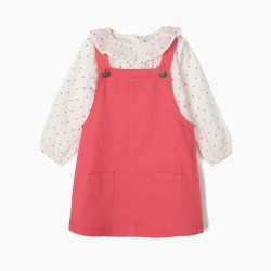 BABY GIRL'S CHEST SKIRT AND BLOUSE, PINK / WHITE