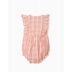 EMBOSSED JUMPSUIT AND HAT FOR BABY GIRL, PINK