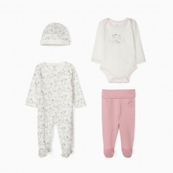 SET OF 4 PIECES FOR NEWBORN 'CUTE RABBIT', WHITE AND PINK