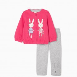 BABY GIRL TRACKSUIT 'CUTE BUNNY' PINK/GREY