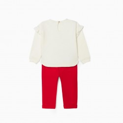 'FLOWERS' BABY GIRL TRACKSUIT, WHITE/RED