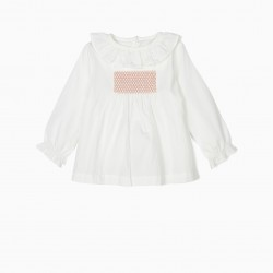 BLOUSE AND SHORTS FOR BABY GIRL, WHITE AND PINK