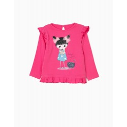 BABY GIRL LONG SLEEVE T-SHIRT WITH FRILLS, PINK