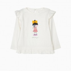 BABY GIRL LONG SLEEVE T-SHIRT WITH FRILLS, WHITE