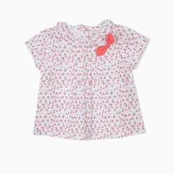 BLOUSE FOR BABY GIRL FLOWERS, WHITE AND PINK