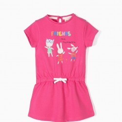 BABY GIRL DRESS 'FRIENDS ARE AWESOME', PINK