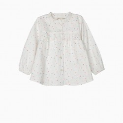 BLOUSE FOR BABY GIRL COLORFUL HEARTS, WHITE