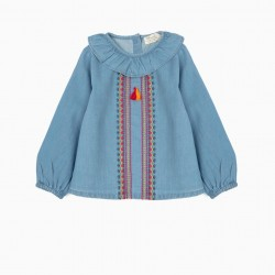 BABY GIRL'S DENIM BLOUSE WITH EMBROIDERY AND TASSELS, BLUE