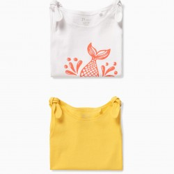 2 TOPS FOR BABY GIRL 'MINI MERMAID', WHITE AND YELLOW