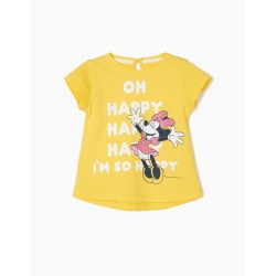 BABY GIRL T-SHIRT 'HAPPY MINNIE', YELLOW
