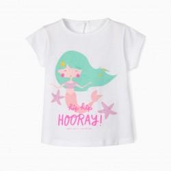 BABY GIRL T-SHIRT 'HORRAY!', WHITE