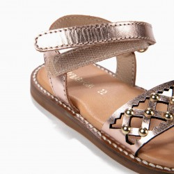 BABY GIRL'S LEATHER PERFORATED SANDALS WITH STUDS, BRONZE