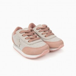 'ZY EASY' BABY GIRL SHOES STRIPES, PINK AND GRAY
