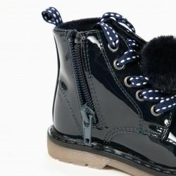 VARNISH BOOTS FOR BABY GIRL BIKER, DARK BLUE