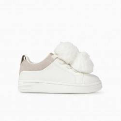 BABY GIRL SHOES WITH PLUSH POM POMS, WHITE