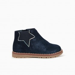 SHINY SUEDE BOOTS FOR BABY GIRL, DARK BLUE