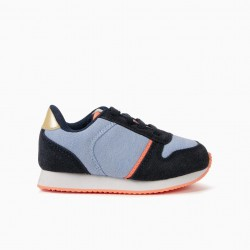 'ZY WILD' BLUE AND CORAL BABY GIRL COMBO SHOES