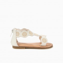 BABY GIRL SANDALS WITH FLOWERS, WHITE
