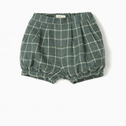 CHECKERED SHORTS FOR BABY GIRL 'B&S', GREEN