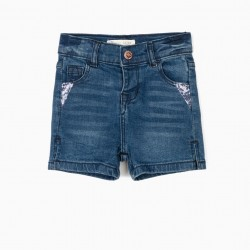 BABY GIRL'S DENIM SHORT WITH SEQUINS, BLUE