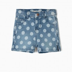 BABY GIRL'S POLKA DOT DENIM SHORT, BLUE
