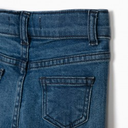 BABY GIRL DENIM SHORTS WITH SEQUINS, BLUE