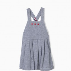 BABY GIRL'S BLUE BIB SKIRT WITH FLOWERS AND PLEATS