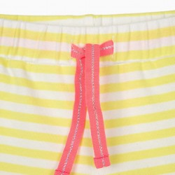 BABY GIRL SHORTS 'MINNIE', LIME YELLOW / WHITE