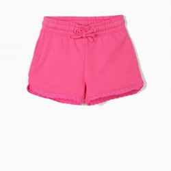 2 GIRLS SHORTS WITH ENGLISH EMBROIDERY, PINK AND BLUE