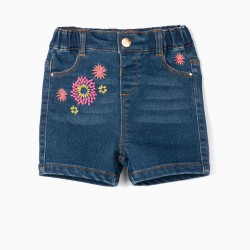 EMBROIDERED DENIM SHORTS FOR BABY GIRL 'COMFORT DENIM', BLUE