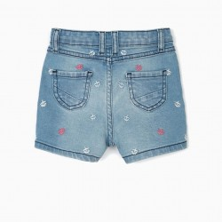 'COMFORT DENIM' BABY GIRL DENIM SHORTS WITH EMBROIDERY, BLUE