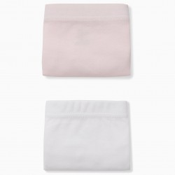 PACK 2 PINK AND WHITE DIAPER COVERS