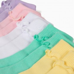 PACK 5 FLAT SOCKS FOR BABY GIRL WITH FOLD, VARIOUS COLORS