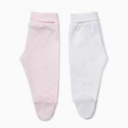 PACK 2 PANTS WITH FEET FOR NEWBORN, WHITE AND PINK