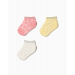 3 PAIRS OF SHORT SOCKS FOR BABY GIRL 'HEARTS' WITH LUREX, MULTICOLOR