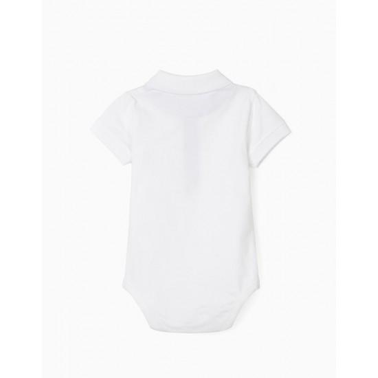 POLO BODYSUIT FOR BABY BOY, WHITE