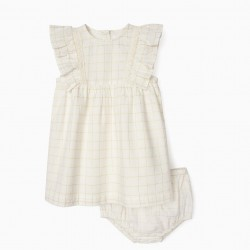 BABY GIRL DRESS AND DIAPER COVER, WHITE / GOLD