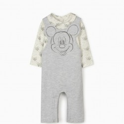 DUNGAREES AND BODYSUIT FOR NEWBORN BABY BOYS 'MICKEY MOUSE', GREY/WHITE