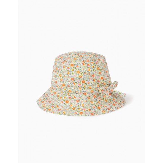 UV 80 PROTECTION HAT FOR GIRL AND BABY 'FLOWERS', MULTICOLOR